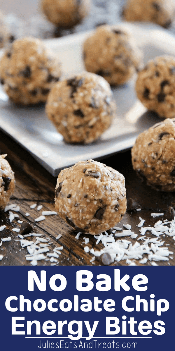 These delicious No Bake Chocolate Chip Energy Bites are loaded with chocolate chips, coconut, oats, flaxseedand chia seeds! They are the perfect healthy snack recipe! #energybites #energyballs #healthy #snack #recipe #recipeideas #flaxseed #chiaseeds