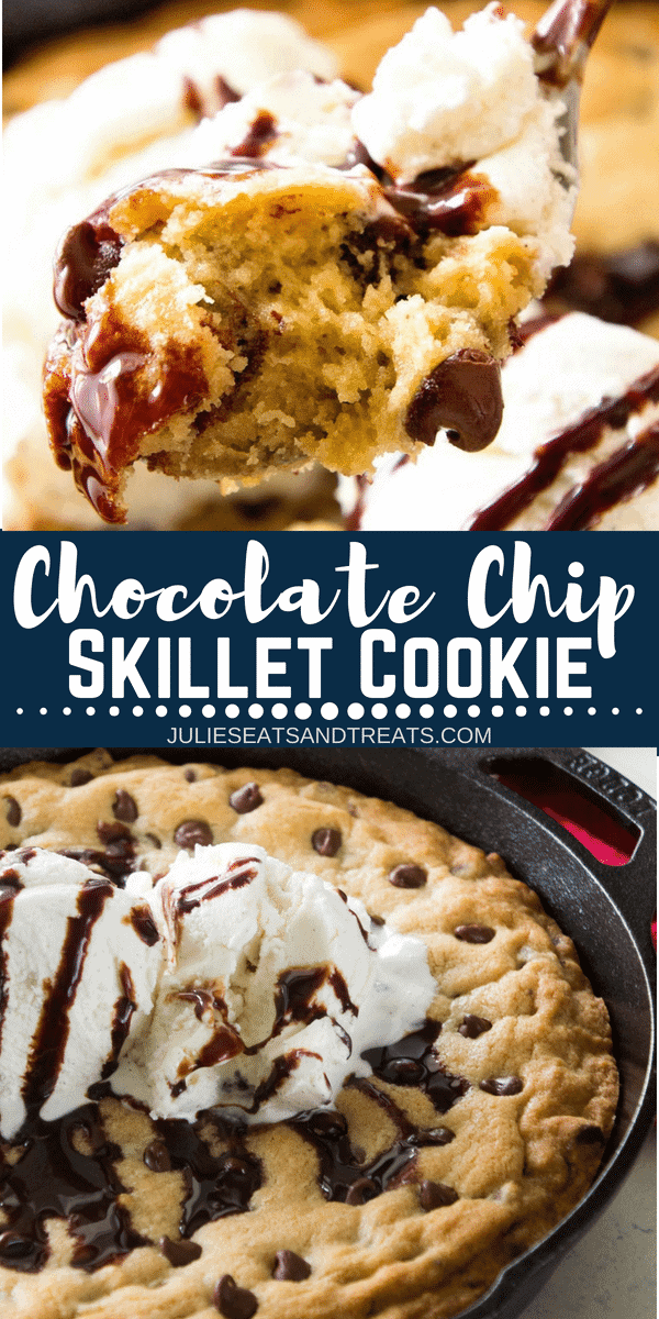 An Ooey Gooey Homemade Chocolate Chip Skillet Cookie Recipe made in your cast iron skillet then topped with vanilla ice cream and chocolate syrup is the perfect sweet ending to your meal! #recipe #chocolatechipcookie #skillet #cookie #skilletcookie #dessert #dessertrecipe #easy #easyrecipe #easydessert #julieseatsandtreats
