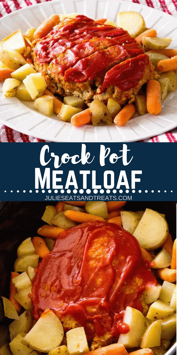 This Crock Pot Meatloaf is topped with Ketchup and made in the slow cooker with carrots and potatoes! Throw this delicious Crockpot Meatloaf in your slow cooker this week!#julieseatsandtreats #crockpot #slowcooker #meatloaf #carrots #potatoes #comfortfood #recipe #crockpotrecipe #slowcookerrecipe #turkey