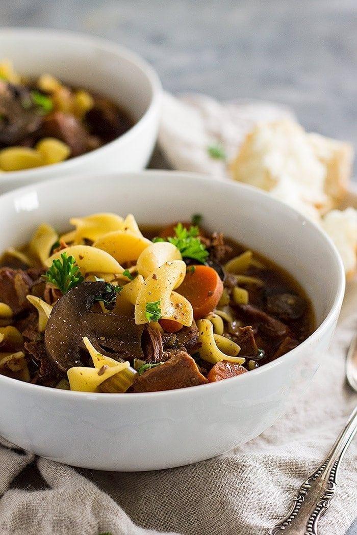 Crock Pot Beef And Noodle Soup Julie S Eats Amp Treats
