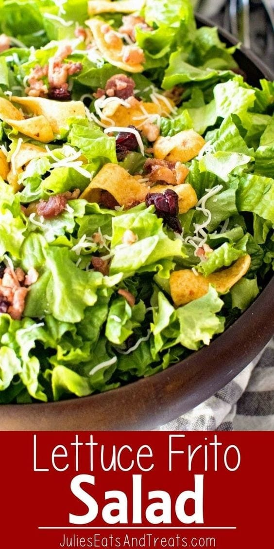 Lettuce Frito Salad ~ Delicious Lettuce Salad Layered with Corn Chips, Bacon, Cranberries and Topped with a Delicious Homemade Tangy Poppy Seed Dressing!  #salad #healthy #healthyrecipes #homemade