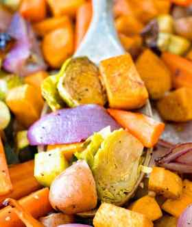 Easy Roasted Vegetables on Wooden Spoon