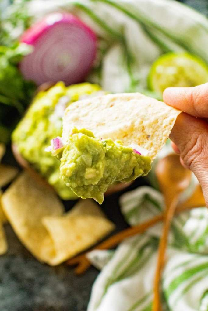 Chip with Guacamole on it