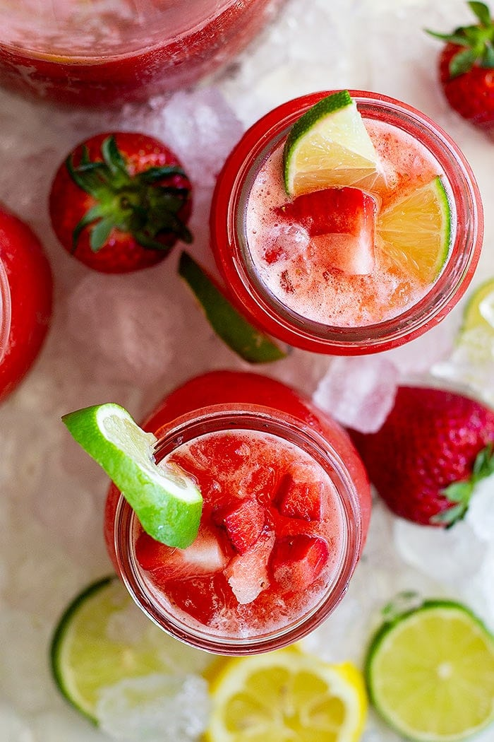 Lemonade Margarita with Strawberry and Lime