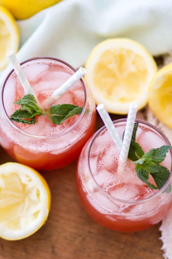 overhead shot easy watermelon lemonade recipe