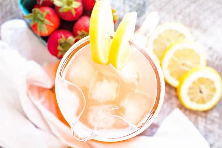 Overhead of Vodka Strawberry Lemonade in Pitcher