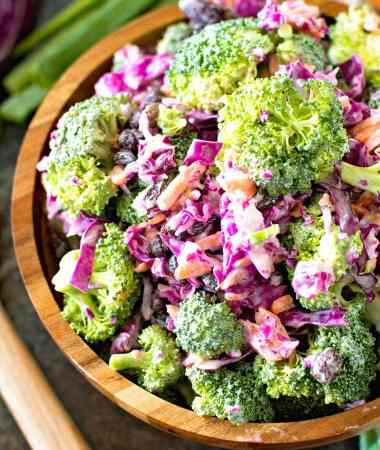 Light homemade broccoli slaw in brown bowl