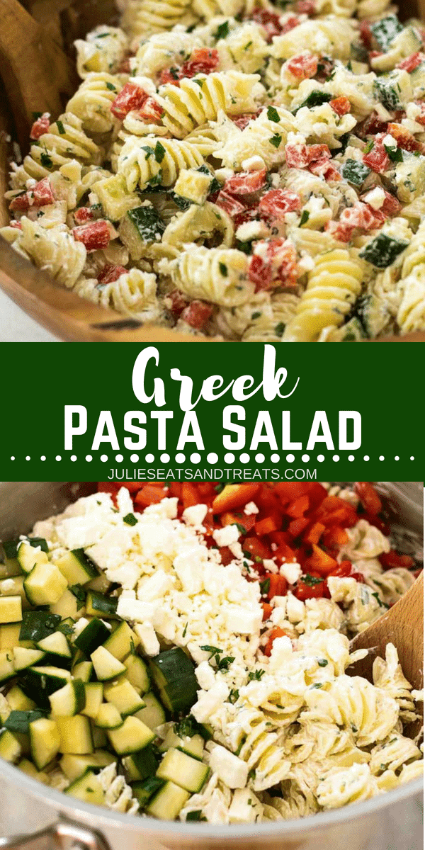 This delicious cold pasta salad recipe is full of flavor from bell pepper, cucumber, lemon, and dill! Top this cold pasta salad with a creamy Greek yogurt dressing and it's going to be your new favorite pasta salad for BBQ's, potlucks and parties! #salad #pasta #pastasalad #coldpastasalad #greek #yogurt #BBQ #potluck #recipe #easy #easyrecipe #juliesatsandtreats