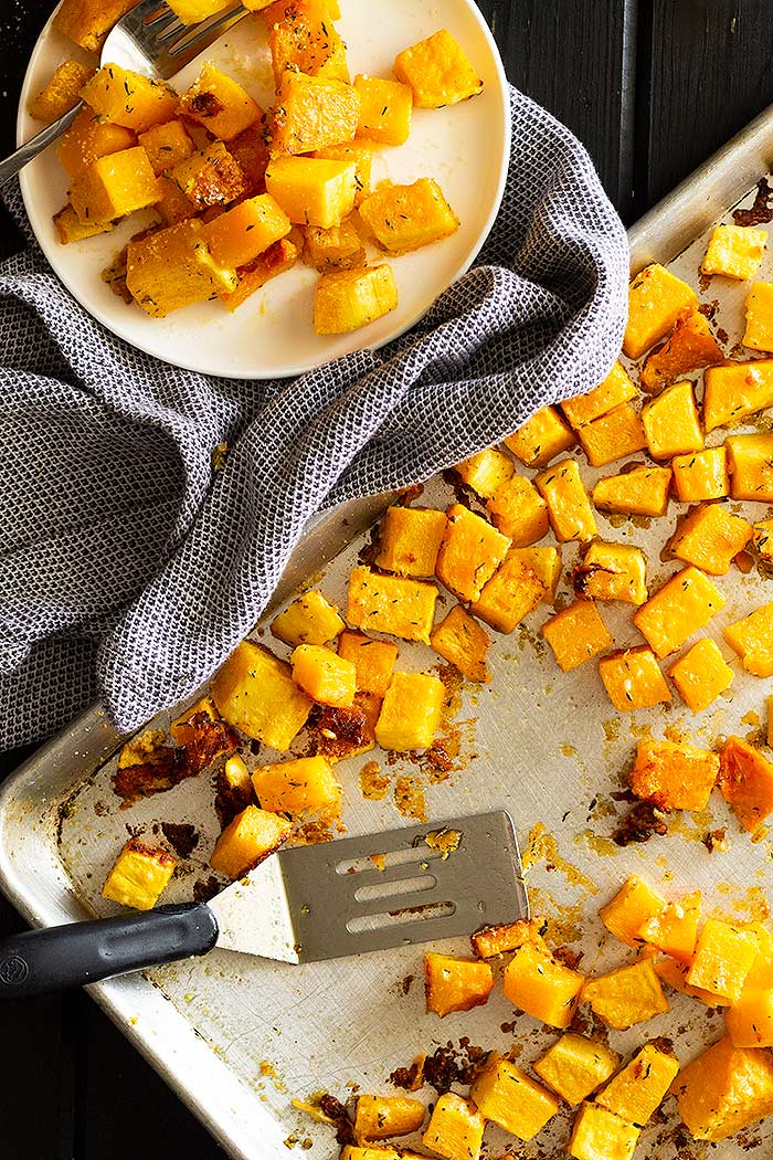 Roasted Butternut squash on a sheet pan.