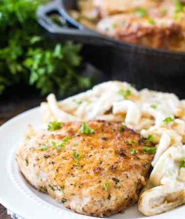 Baked Pork Chops with Parmesan Garlic Noodles