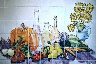 Garden Harvest, painted tile