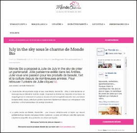 blog beauté sélection une presse subleem hellocoton inspilia focus beauté Le 25 avril 2016 - Sur le blog de Monde Bio