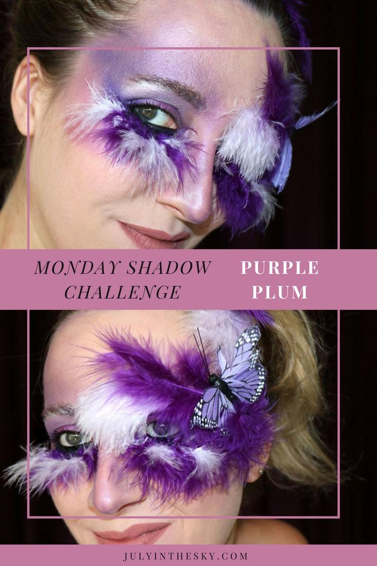 blog beauté monday shadow challenge purple plum faux cils make-up artistique
