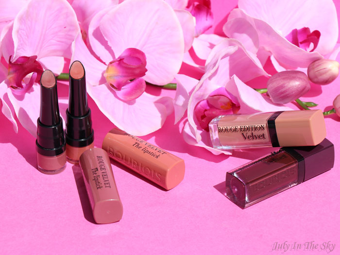 blog beauté Bourjois Rouge Velvet The Lipstick Peach Tatin avis test swatch Rouge Edition Velvet Floribeige Berry Chic