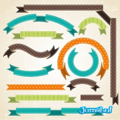 Ribbons-vectorizadas-con-texturas-en-diferentes-formas
