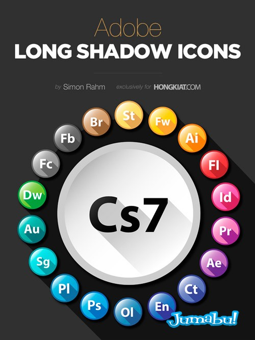 adobe long shadow icons - Iconos de los Productos Adobe con Efecto Sombra Larga