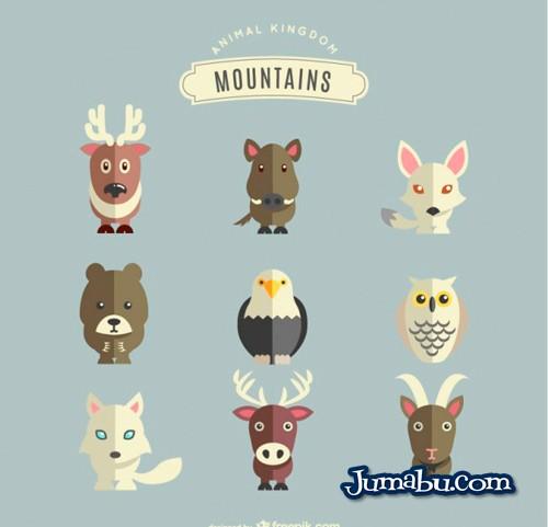 animales-montana-vectores-planos