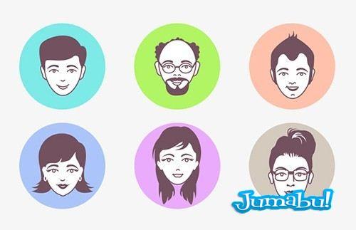 avatar faces vector - Caras de Personas en Vectores