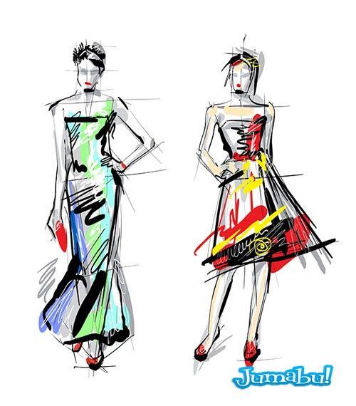 diseno de moda dibujos - Dibujos, Ilustraciones Diseño de Moda en Vectores