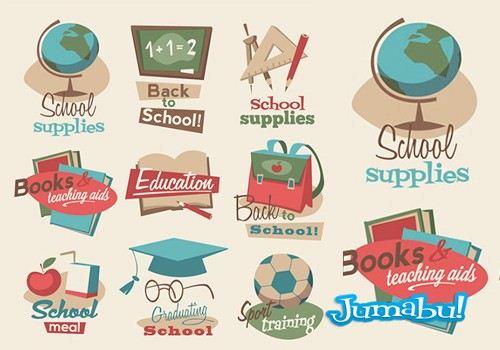 elementos escolares retro vectores - Elementos Escolares con Estilo Vintage