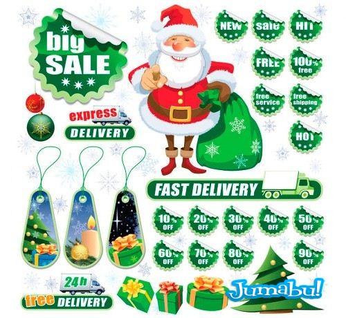 etiquetas descuentos vectores navidad - Etiquetas de Descuentos Navideños en Vectores
