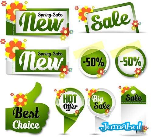 etiquetas precios promociones flores spring 1 - Etiquetas para Colocar Precios y Promociones en Vectores