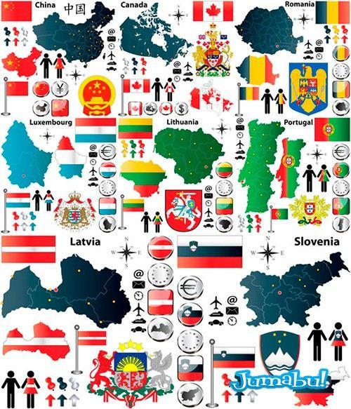 mapas-escudos-banderas-vectores