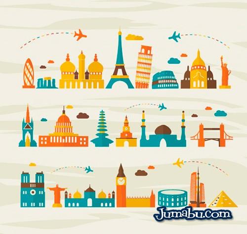 monumentos-viajes-aereos-vector-turismo