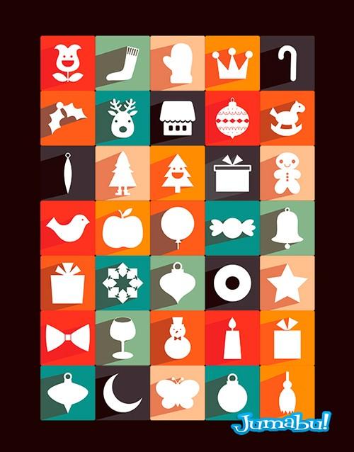 navidad iconos planos - Iconos Navideños en PNG con Estilo Plano