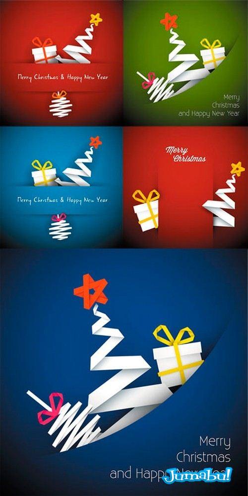 origami vectores navidad - Recursos Navideños en Vectores con Estilo Origami!
