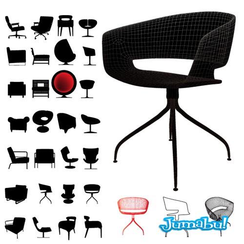 sillas oficina vectorizadas - Sillas de Diseño en Vectores