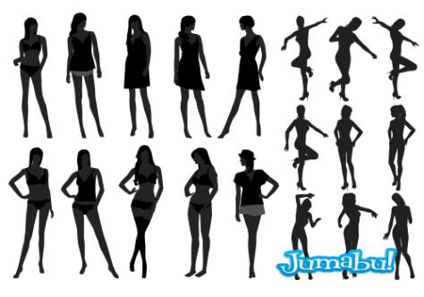 contorno-mujeres-negros-vectorizados