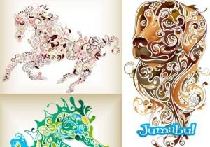 animales vectorizados gratis - Animales Vectorizados con Detalles Ornamentales