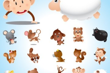 animalitos vectorizados monitos vectoriales - Animalitos para Niños en Vectores para Descargar
