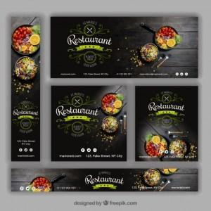 banners con grafica para restaurante - Set de banners con estética para un restaurante