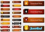 botones estilo cuero vectorizados - Botones y Ribbons con Efecto Cuero en Vectores