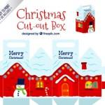 cajas navidad decoradas - Troquel de Cajas Navideñas Decoradas