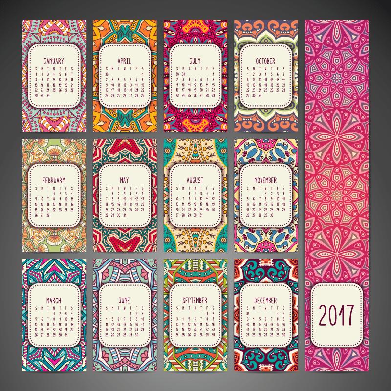 Calendario 2017 con mandalas y en vectores