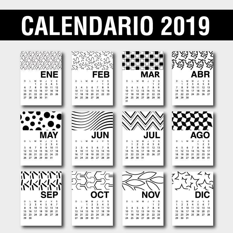 Calendario 2019 en Español para imprimir gratis