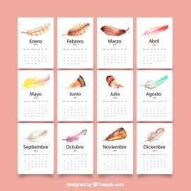 calendario 2019 espanol con plumas colores - Calendario 2019 con estilo acuarelas, en español y para imprimir