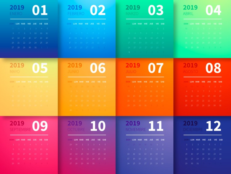 calendario del año 2019 con cuadritos de colores en español para descargar gratis