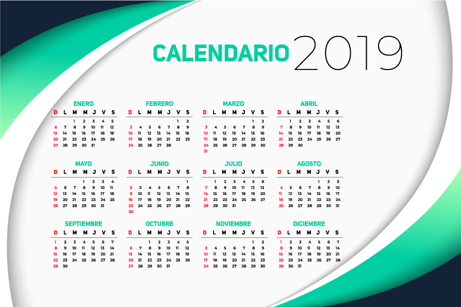 Calendario 2019 en español gratuito