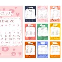 Calendario 2020 en español con estilo infantil