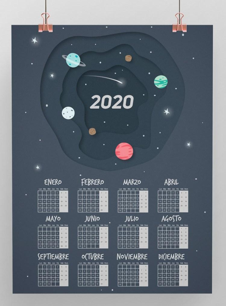calendario 2020 espanol planetas 1 - Calendario 2020 en español para imprimir