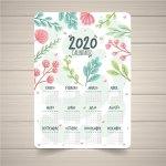 calendario 2020 floral en vectores - Calendario 2020 en español gratis para descargar