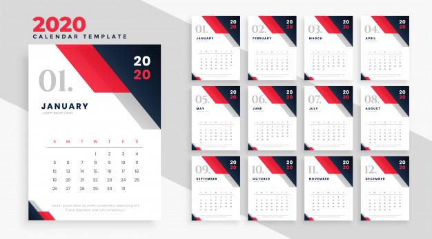 calendario 2020 imprimir png - Calendario 2020 en vectores para descargar