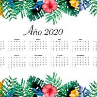 Calendario 2020 en español con estilo floral