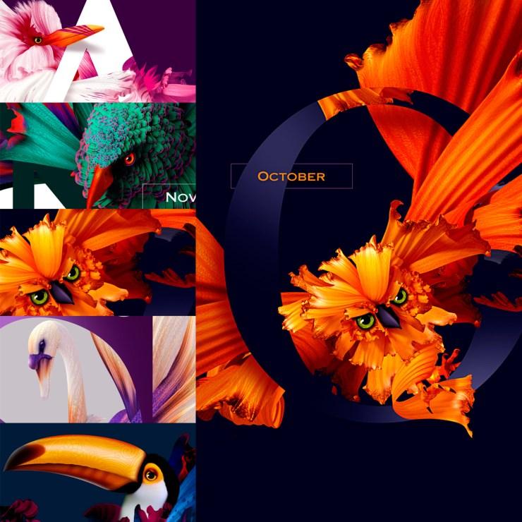 calendario super original - Diseño de Calendario con flores y aves muy original