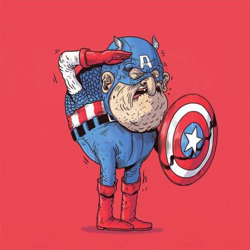 capitan america anciano - Caricaturas de superhéroes ancianos
