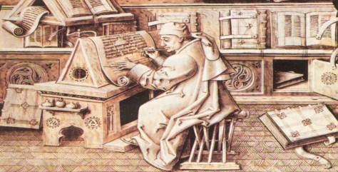 copista dibujando letras en su tablero